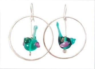 Little handmade venetian glass wren earrings with sterling silver hoops from Kin Kin Beads