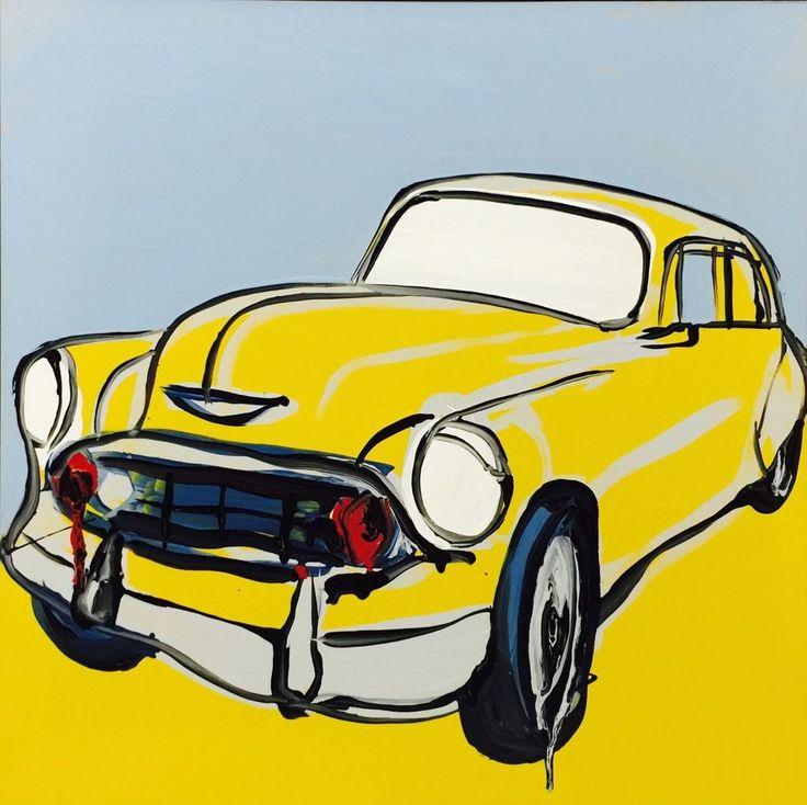 JASPER KNIGHT  Yellow Taxi Cuba  Enamel on Perspex 60cm x 60cm FRAMED