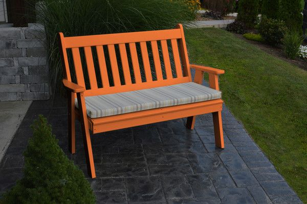 A&L Furniture Company Recycled Plastic 5' Traditional English Garden Bench - Bright Orange