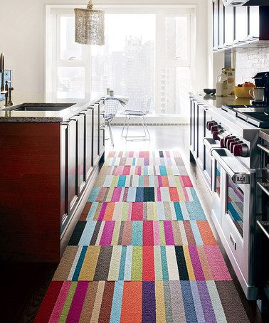 Patchwork rug for the kitchen. #coloreveryday