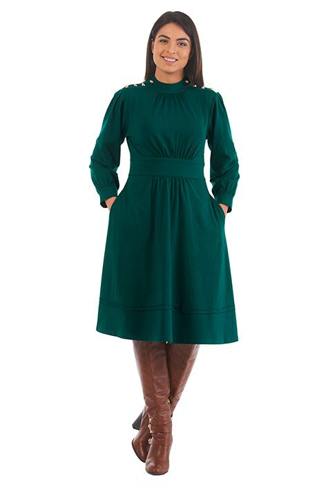 I <3 this Button cotton jersey knit dress from eShakti