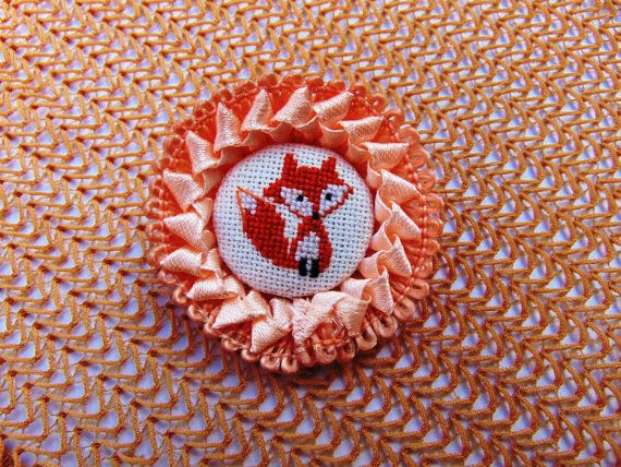 Hand embroidered brooch Young Fox with orange lace. by MaRenaMaRa