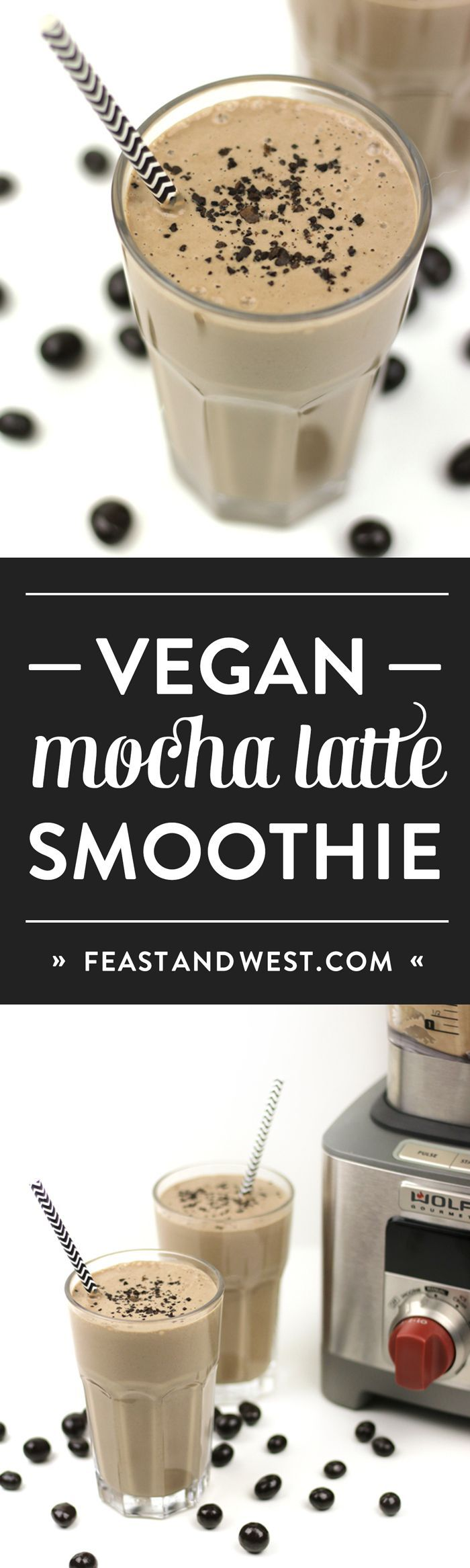 Vegan Mocha Latte Smoothies are a healthful way to begin the day. Packed with protein and nutrients from bananas, peanut butter, non-dairy yogurt, almond milk, chia seeds and tofu, this smoothie's got a bit of caffeine from real cocoa and coffee or espresso to boot. This is a blender breakfast that'll boost your morning right. (via http://feastandwest.com)