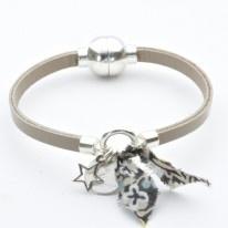Bracelet cuir grigri étoile et liberty beige