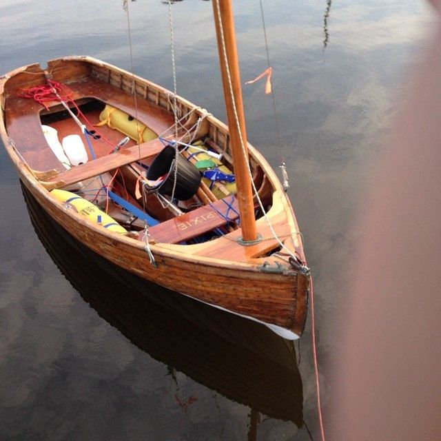 Pixie awaiting the Dutch 12 ft Dingy Centennial | 12 FT One Design Dinghy | Wooden sailboat ...