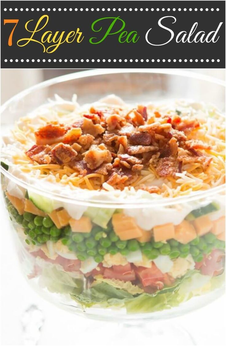 Everyone needs a great recipe for the classic 7 layer pea salad! This one is my favorite because that dressing isn't the typical sour cream. ohsweetbasil.com