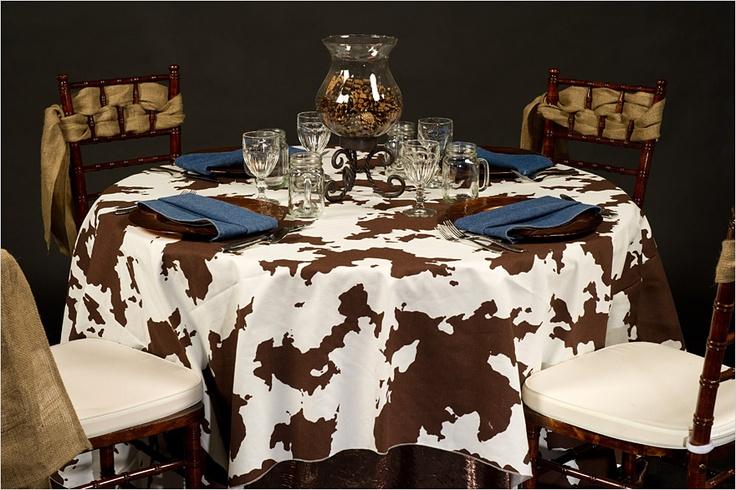 Rustic cow prints with hints of denim and burlap www.creativecoverings.com #cow #denim #burlap #rustic #country #creativecoverings #love #events: Consultant Ideas, Country Westerns, Cows Prints, Burlap Rustic, Rustic Cows, Linens, Country Creativecov, Www Creativecoverings Com Cows, Cows Denim
