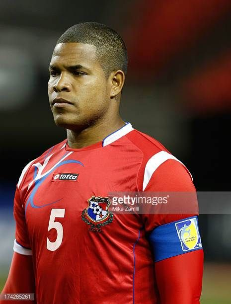 Roman Torres of Panama pauses for the national anthem before the CONCACAF Gold Cup quarterfinal game against Cuba at the Georgia Dome on July 20 2013...