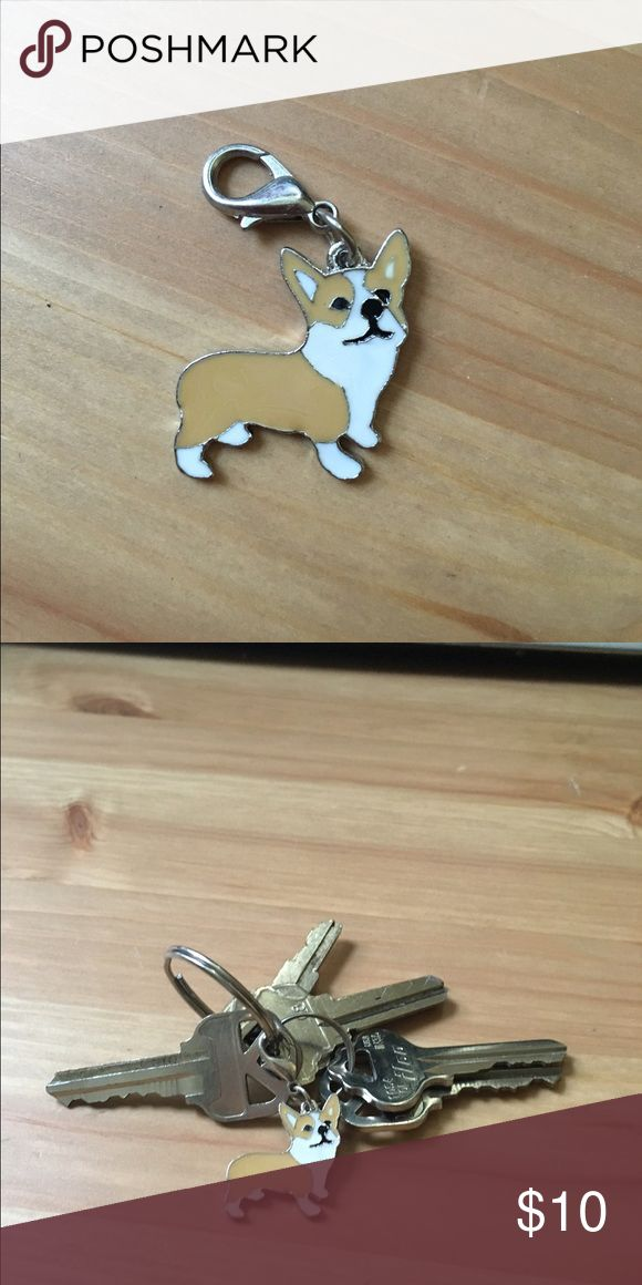 "Adorable tiny Corgi dog enamel pin -like keychain brand new metal Corgi charm, unused (clipped to keys for scale). Clip to your keychains, zippers, backpacks, etc!  This charm is about 1"" by 1"".   Price is firm here but listed for $7 with free shipping on MERCARl. Check my other listings for pug, Frenchie, Schnauzer, and more designs. Accessories Key & Card Holders"