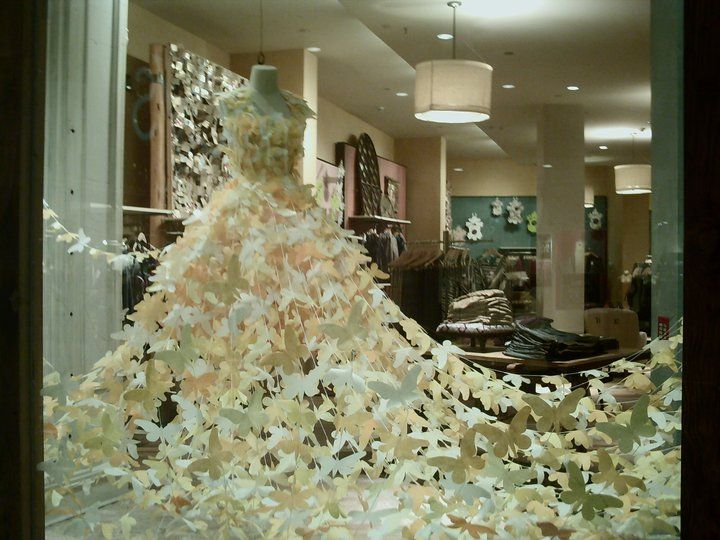 paper butterfly dress, Spring window Display by Rachel Korb and Anthropologie visual team.