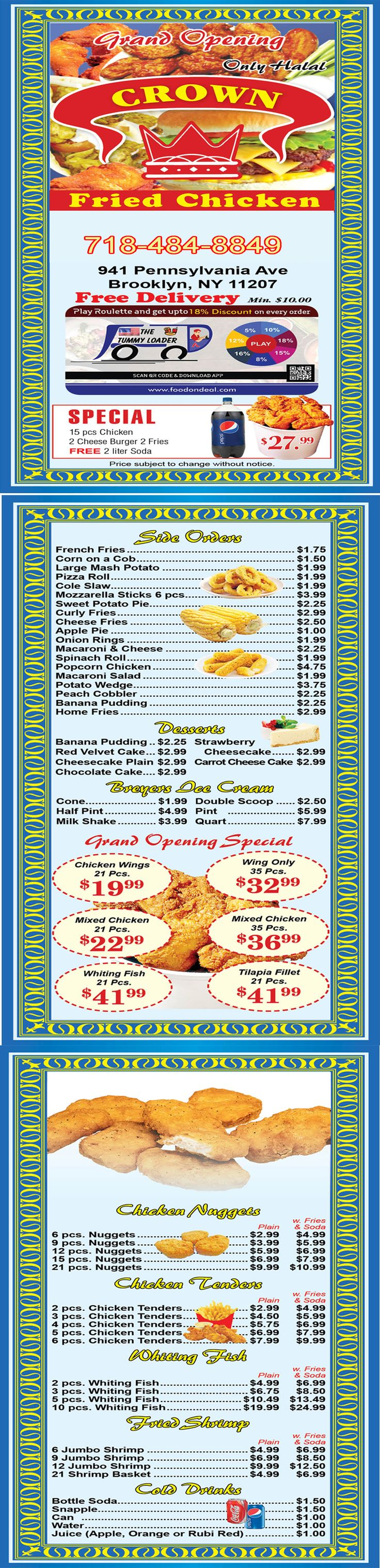 Crown Fried Chicken   941 Pennsylvania Ave  Brooklyn NY 11207   (718) 484-8849  Place your Food from here:- https://www.foodondeal.com/restaurant/gyro--fish-new-york-941-pennsylvania-avenue-brooklyn-new-york-ny-usa/MzY= and enjoy quality Food at your doorstep with discount.   #CrownFriedChicken #CrownFriedChickenG F S #OrderFromCrownFriedChicken #FoodOnDeal