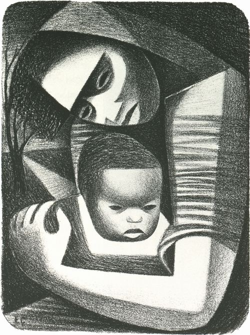 ELIZABETH CATLETT, MOTHER AND CHILD, 1944 lithograph
