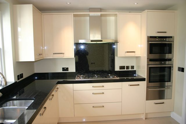 cream gloss kitchen with granite worktops - Google Search