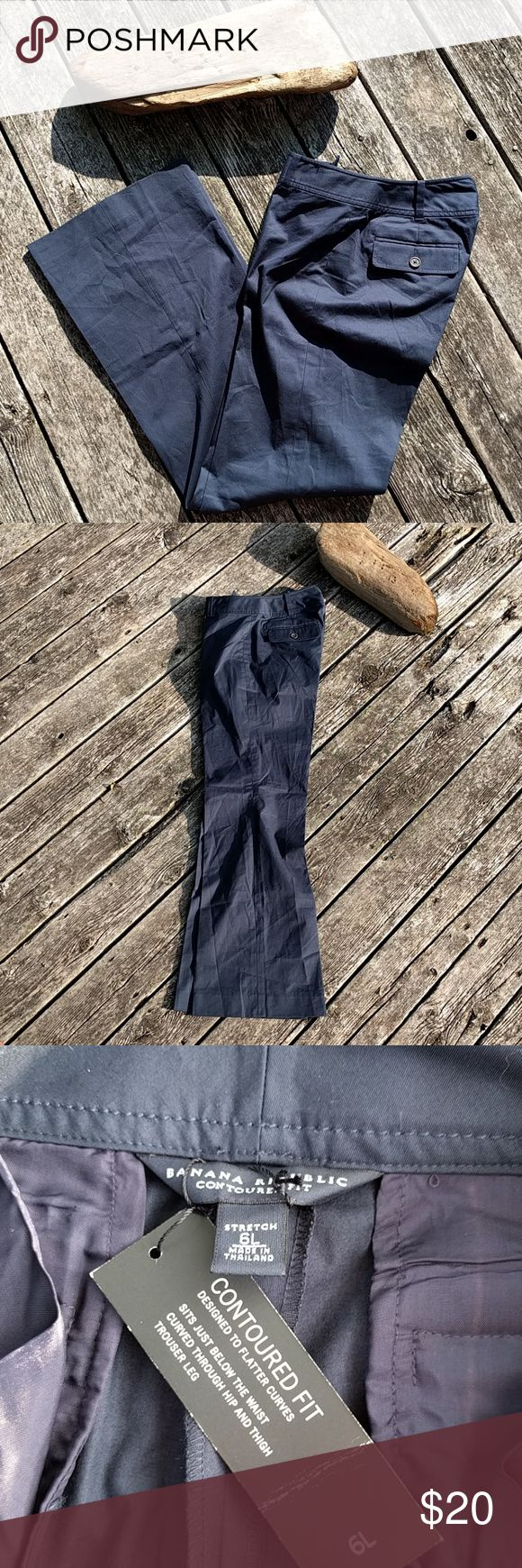 """Banana Republic//NWT Navy Workwear Trousers NWT navy blue wide-legged workwear trousers by Banana Republic. Size 6L. 93% cotton/7% Spandex.  From tag: """"Designed to Flatter Curves - Sits Just Below the Waist - Curved Through Hip & Thigh - Trouser Leg"""" Banana Republic Pants Trousers"""
