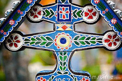 Beautifully painted cross in cemetery~Sapanta, Romania