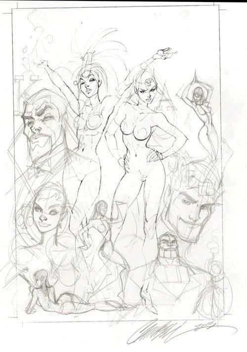 Danger girl Prelim sketch