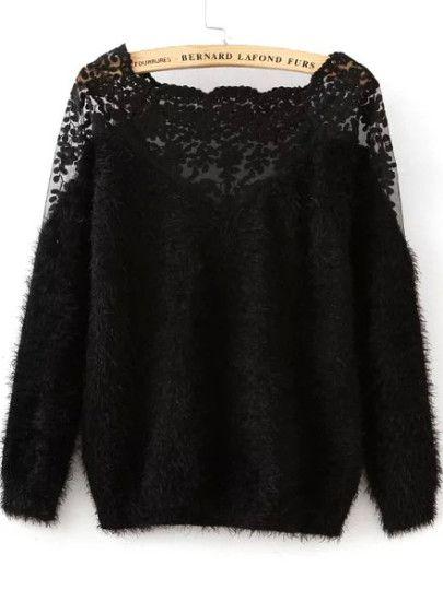 Pullover Mohair mit Spitzeneinsatz-schwarz