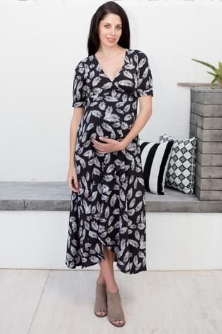 Harlow Maternity and Nursing Wrap Dress (Feather)