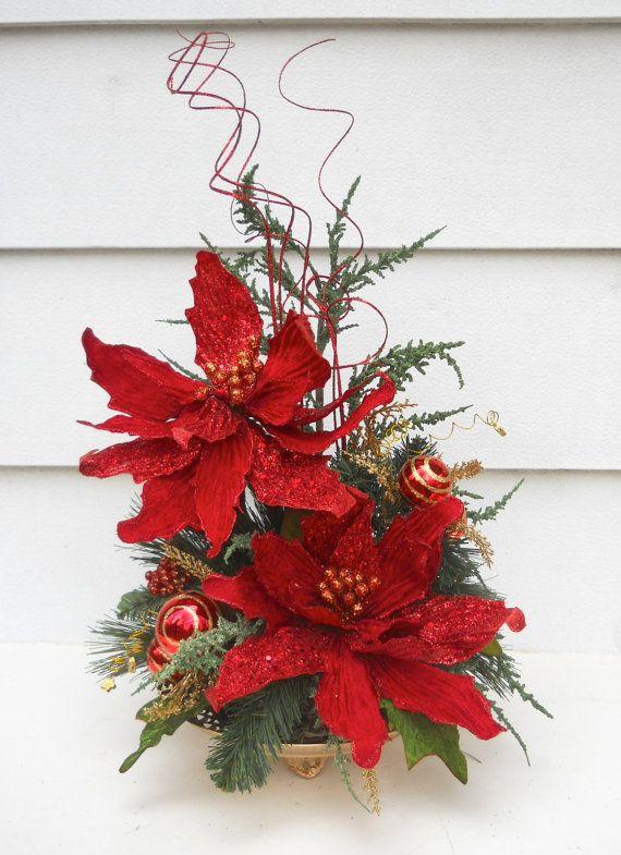 Christmas Holiday Red Glittered Poinsettia Flower Arrangement, Table Decor