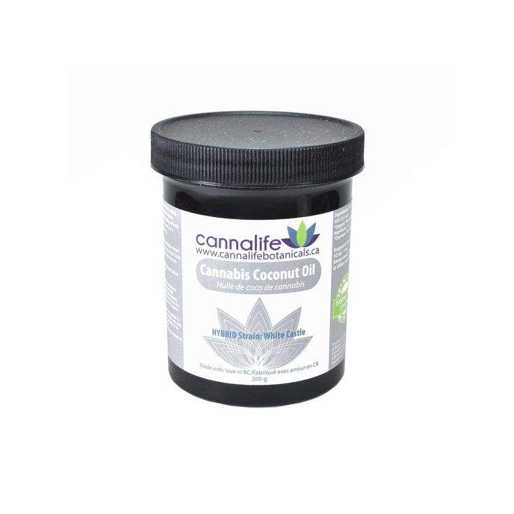 Cannalife Botanicals – Cannabis Coconut Oil Made with premium herb using our natural infusion process without the use of chemicals. 200g *contains THC. May have strong intoxicating effects.  Lab tested:25mg/tsp  Quality features:  Organic Non-GMO Gluten-free Solvent-free Suggested use: for Topical and Medicinal pain relief. Recommended for baking and cooking. May also be used as a moisturizer for skin or hair.