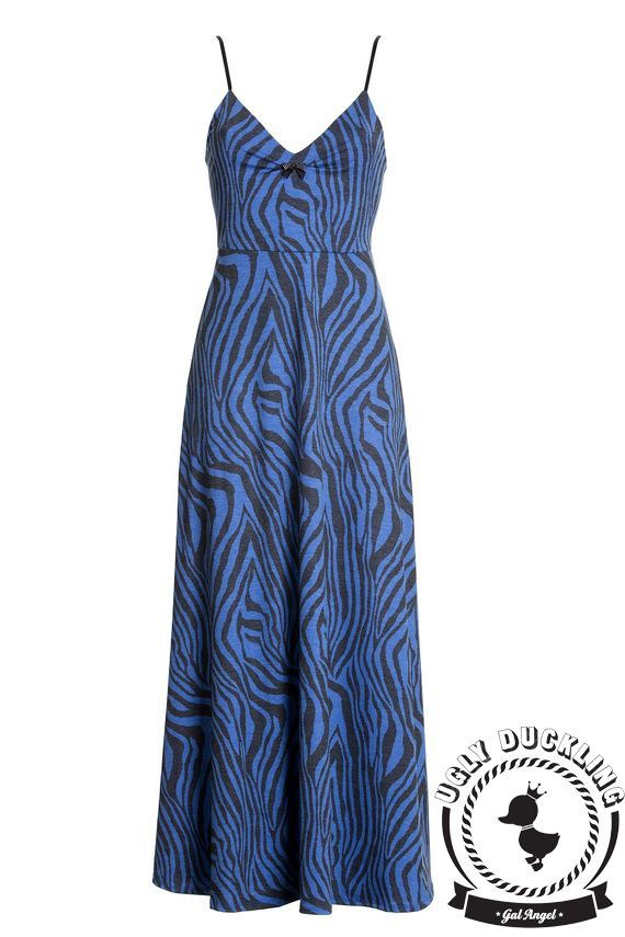 שמלה מקסי-מה! זברה כחול | UGLY DUCKLING  לפרטים מלאים ורכישה לחצי על התמונה