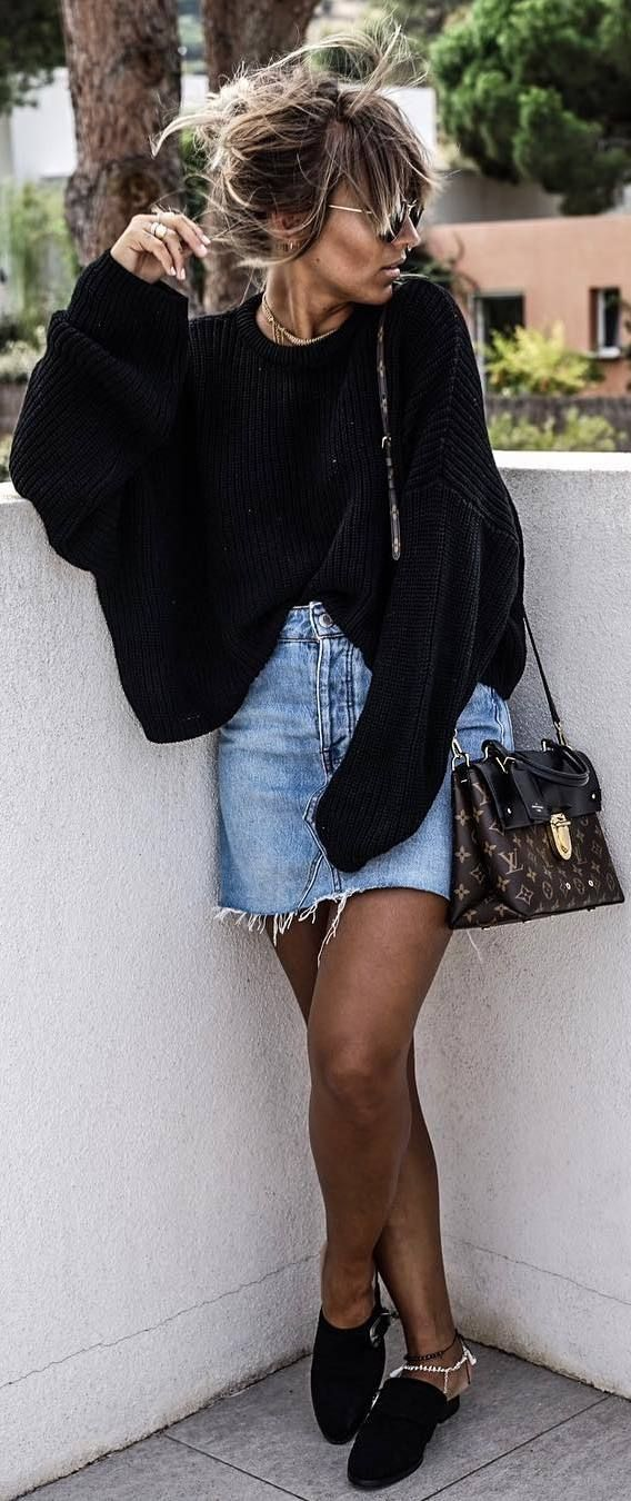 cool outfit idea : oversized sweater + bag + denim skirt + shoes