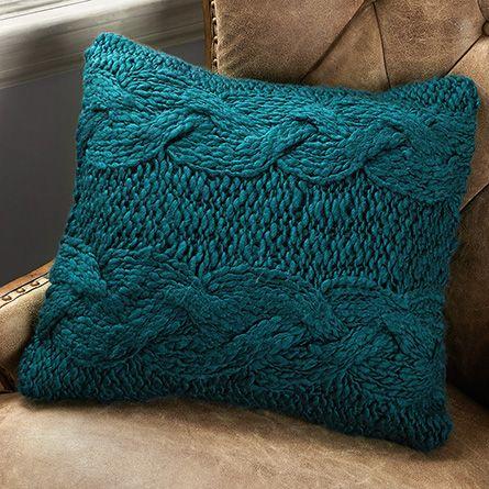 Hand Knit Wool Teal Pillow | Arhaus Furniture