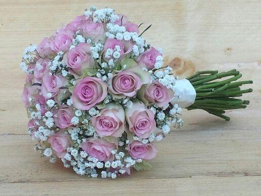 Bruidsboeket met roze rozen