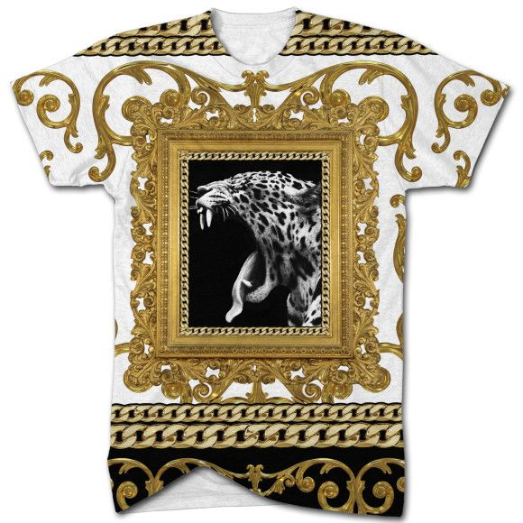 Royal Gold Leopard all over print t shirt