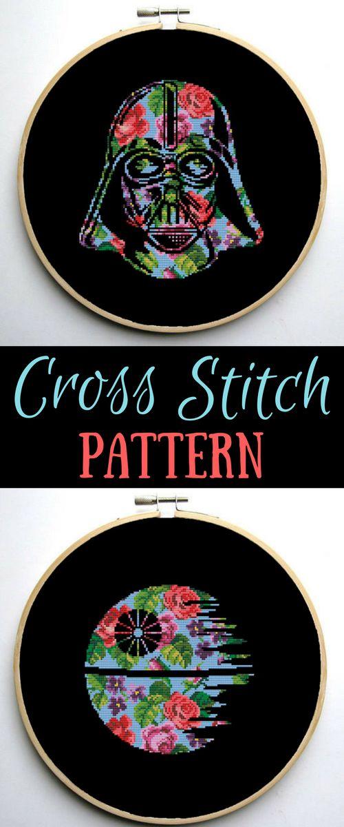 Star Wars Cross Stitch PDF pattern Floral Darth Vader Helmet - Silhouette #disney #starwars #affiliate #crossstitch #Darthvader