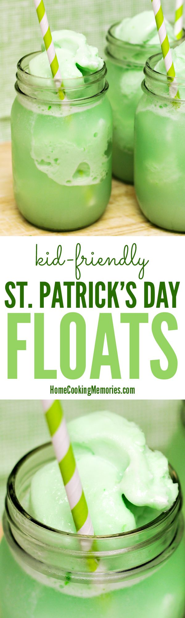 Green recipes for St Patrick's Day are a must! These kid-friendly St Patrick's Day Floats (Lime Sherbet Floats) are a quick & easy St Paddy's Day treat! This drink has only 2 ingredients: lime sherbet & lemon lime soda.