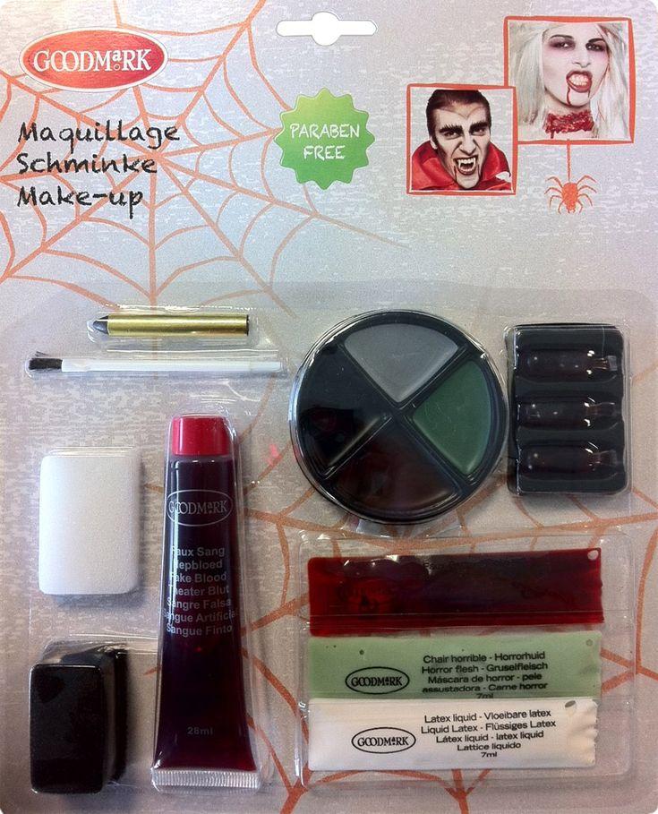 Maquillaje zombie kit de lujo: Este kit de maquillaje zombie incluye 4 bases de maquillaje, un lápiz de color negro, sangre falsa, látex líquido, máscarilla, 2 esponjas y 1 pincel. Las bases de...