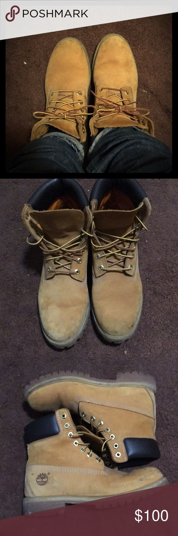 Timberlands men boots. Wheat nubuck. Size US 8 M Timberland 6-inch premium waterproof boots Style: 100613240 Color way: wheat nubuck Size: US 8 Men's , EUR 41 Minor scuffs, but easily cleanable with the timberland boot care cleaner. Timberland Shoes Boots