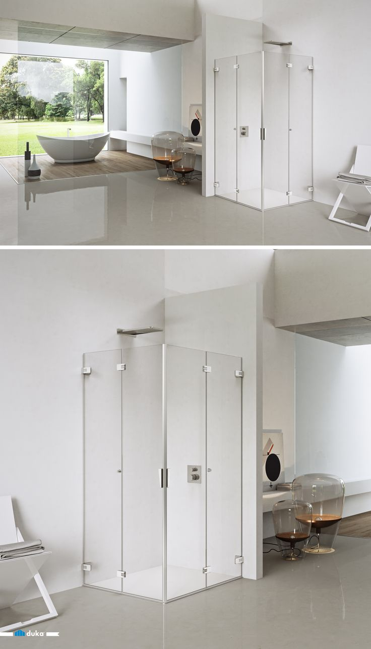 pura 5000 • a folding pivot door in corner situation has many benefits. One of them is the maximized entrance width, or the possibility to clap the glass doors back in order to use the  area of the shower enclosure as open bathroom space.