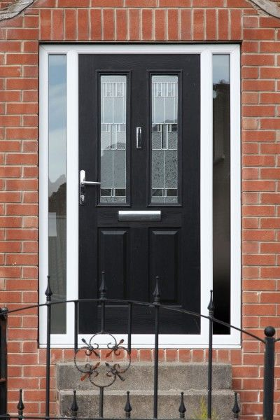 Ludlow 2 composite door in black with Prairie glass and integrated side panels.
