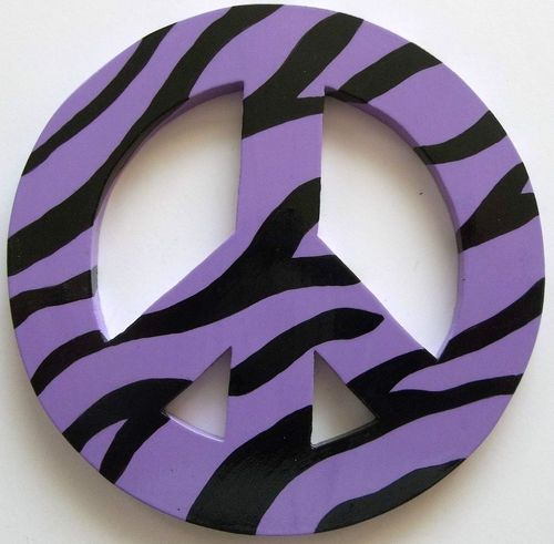 Peace Sign Wood  Light Purple Zebra Print Retro 60' 70' Kids Bedroom Wall Decor