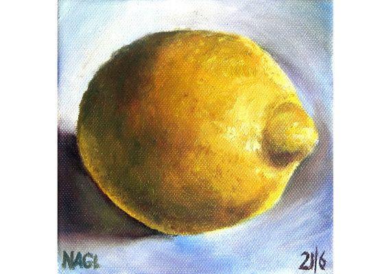 Lemon Uncut June 2014 original oil painting still life by jonnagl, £60.00