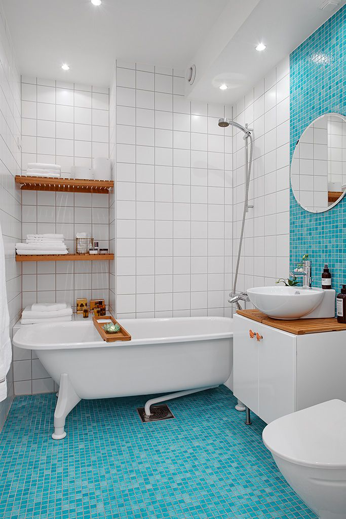 Pretty Colorful Apartment Brings Cheerful Nuance: Fancy White Blue Bathroom Amazing Swedish Apartment Design ~ softiv.com Apartment Inspiration