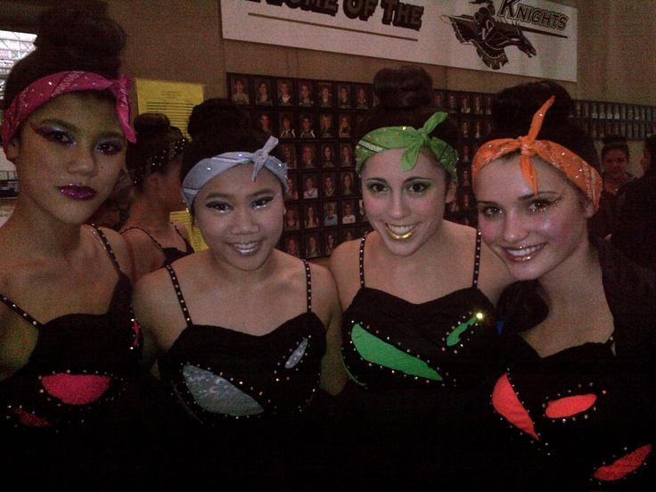 High School Dance Team hair and makeup.