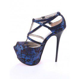 How about this shoe?  Share to get a coupon for all on FSJ Women's Dark Blue Lace T-strap Stiletto Heel Stripper Shoes
