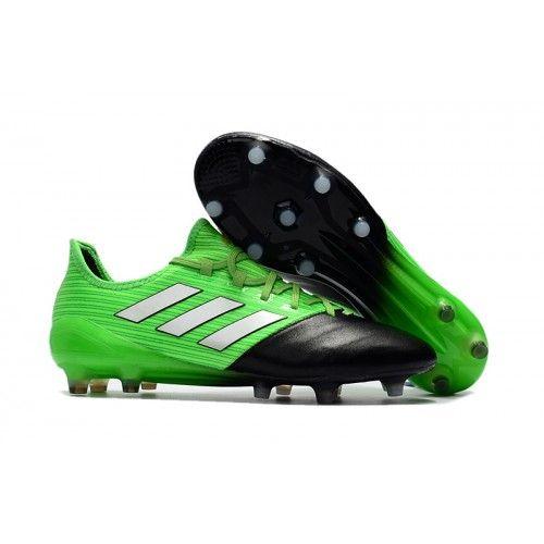 2017 adidas ace 17 1 leather fg chaussures de football vert blanc noir