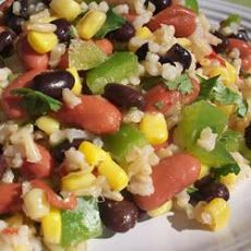 Mexican Bean and Rice Salad Recipe, brown rice, 2 beans, jalapenos etc ...