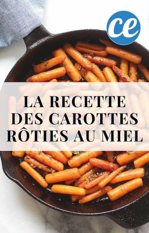 une poêle de mini carottes rôties à l'ail et au miel avec du beurre