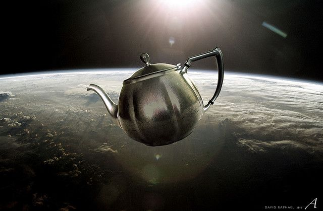 In the case of religion Bertrand  Russell wrote that if he claimed that a teapot were orbiting the Sun somewhere in space between the Earth and Mars, it would be nonsensical for him to expect others not to doubt him on the grounds that they could not prove him wrong.