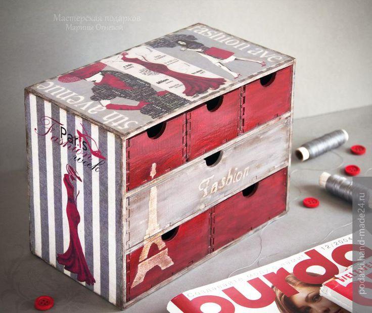 Короб для хранения швейных принадлежностей в технике декупаж, портал Hand-Made24.ru