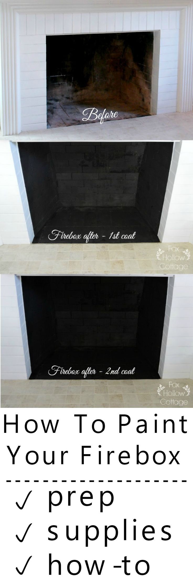 Make your fireplace look like new! How to paint a firebox. DIY home improvement. Get ready for the chilly days of Fall and Winter!
