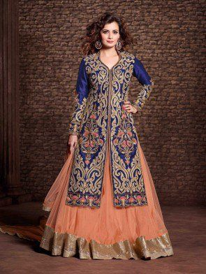 Blue Net Designer Suit with Embroidery Work
