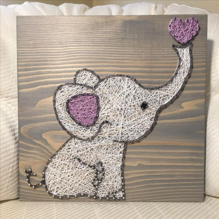 Custom Baby Elephant String Art Sign, Nursery decor, Baby ...