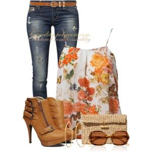 Floral Tank & Buckled Ankle Boots