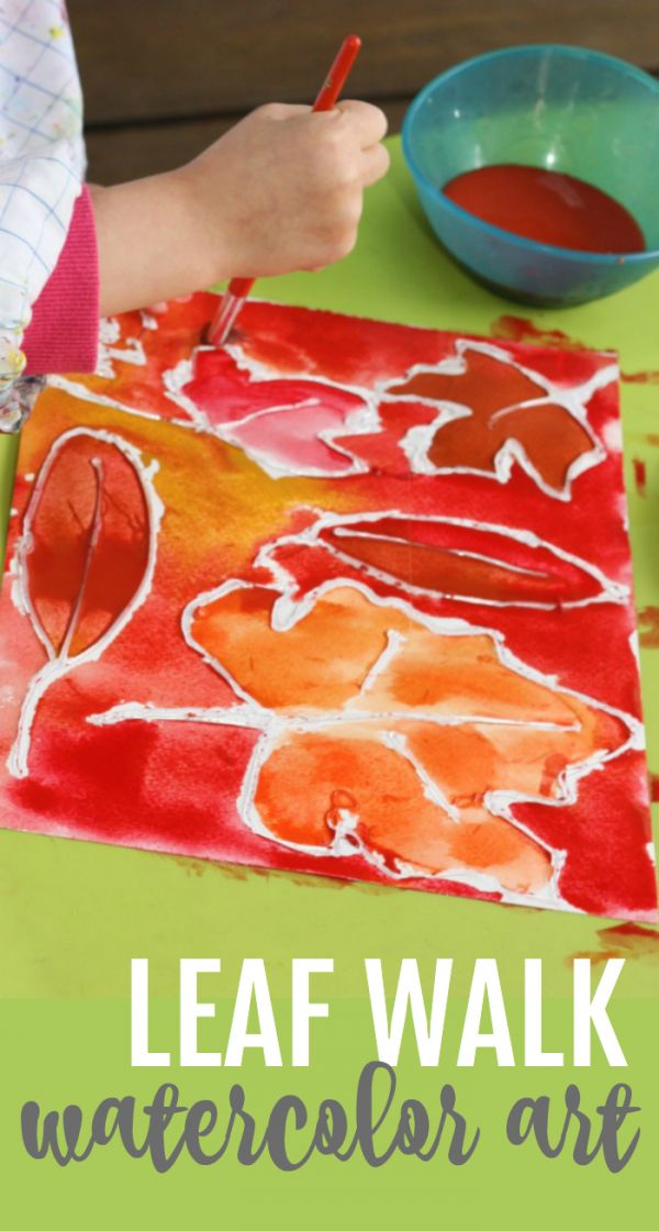 Leaf Walk Watercolor Art:  Collect leaves outside and then make this beautiful watercolor art using hot glue and watercolors!..♔...
